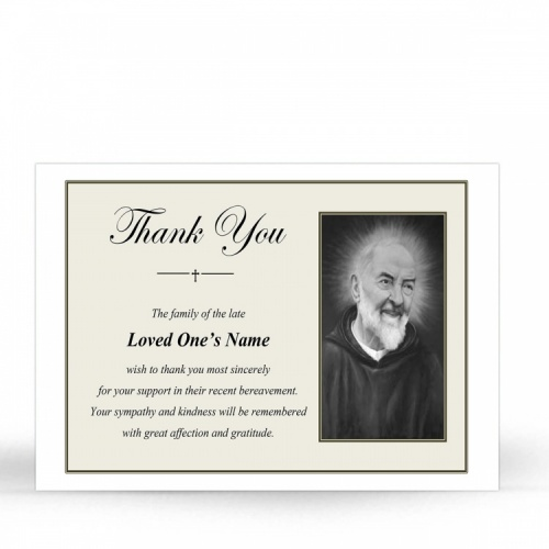Saint Padre Pio Catholic Prayer Acknowledgement Card - ST17