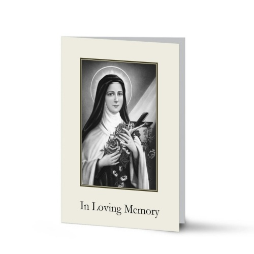 St Teresa Customised Photo Folded Laminated Memorial Cards - ST18