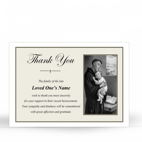 Saint Anthony Catholic Custom Photo Memorial Thank You Card with Blessed Virgin Mary Jesus - ST19