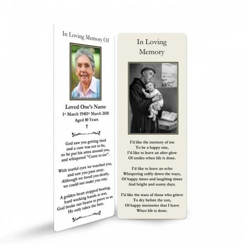 Saint Anthony Catholic Custom Photo Memorial Bookmark with Blessed Virgin Mary Jesus - ST19