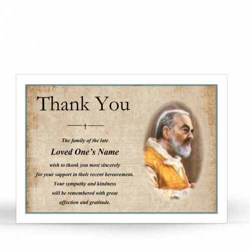 Saint Padre Pio Traditional Catholic Personalised Memorial Acknowledgement Card - ST01