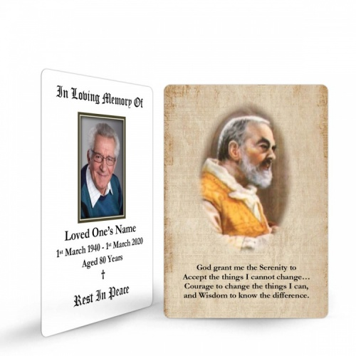 Saint Padre Pio Traditional Catholic Personalised Memorial Laminated Wallet Card - ST01