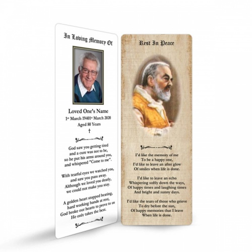 Saint Padre Pio Catholic Personalised Laminated Memorial Bookmark - ST01
