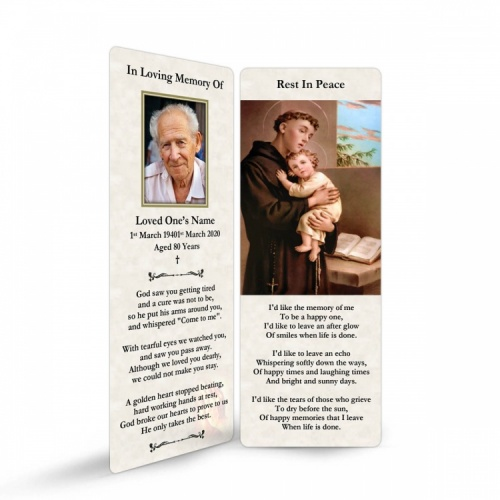 Saint Anthony Catholic Custom Photo Memorial Bookmark - ST02
