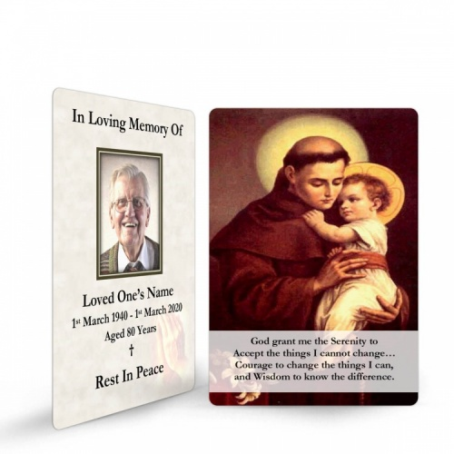 Saint Anthony Catholic Online Photo Memorial Wallet Prayer Card - ST03