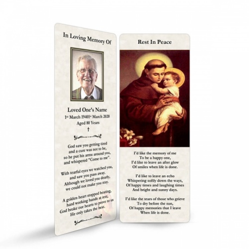 Saint Anthony Catholic Online Photo Memorial Bookmark - ST03