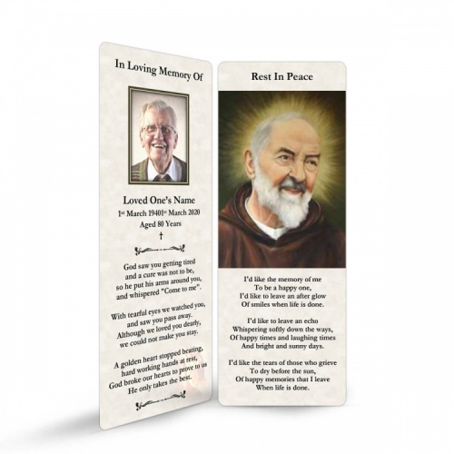 Saint Padre Pio Catholic Irish Personalised Memorial Bookmarks Laminated - ST04