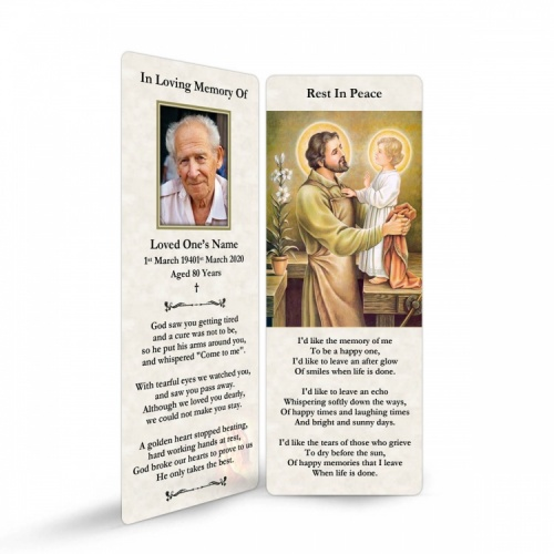 Saint Joseph In Remembrance Laminated Irish Memorial Bookmarks UK - ST05
