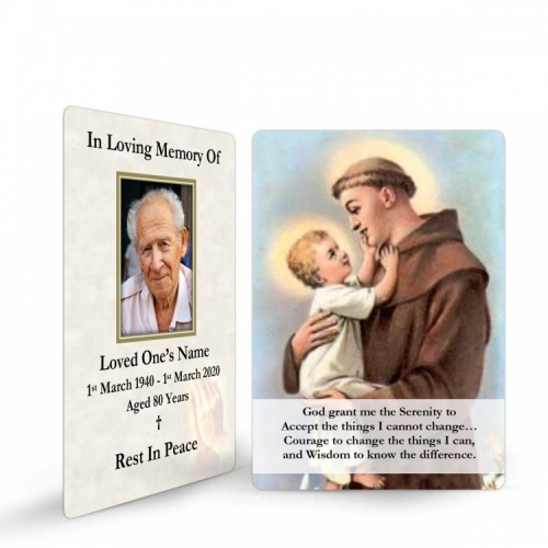 Saint St Anthony Funeral Memorial Laminated Prayer Wallet Card - ST06