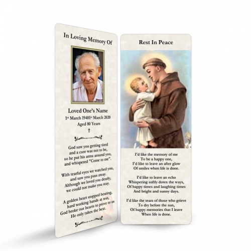 Saint St Anthony Funeral Memorial Laminated Bookmark - ST06