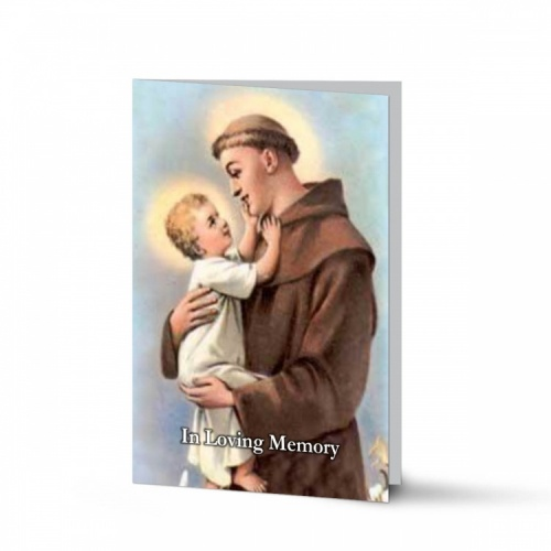 Saint St Anthony Funeral Memorial Laminated Folding Memorial Card - ST06