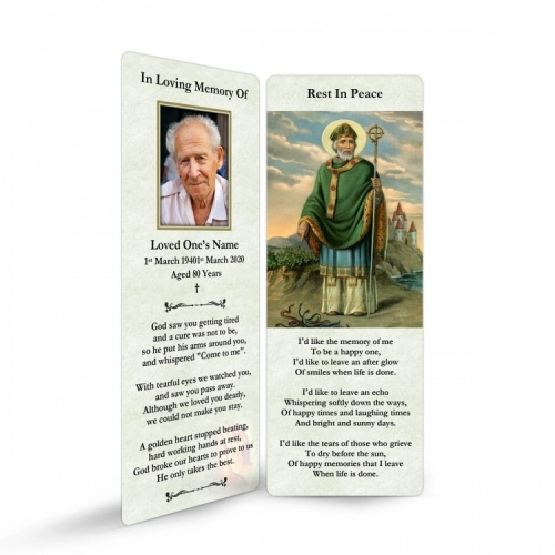 St Saint Patrick Irish Catholic In Loving Memory Memorial Laminated Bookmark - ST08