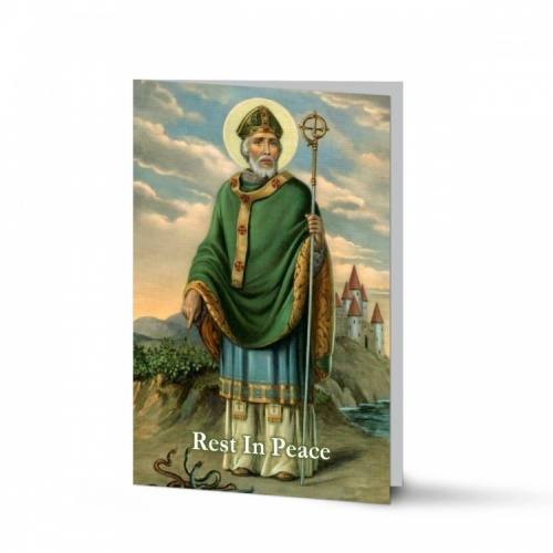 St Saint Patrick Irish Catholic In Loving Memory Memorial Laminated Folding Memorial Card - ST08