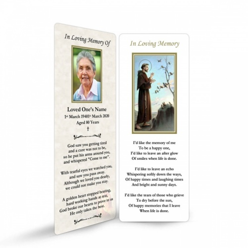 Saint Francis Of Assisi Catholic Irish Customised Memorial Bookmarks Laminated - ST09