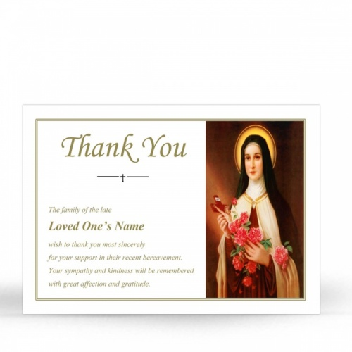 St Saint Teresa In Remembrance Laminated Death Memorial Thanks Cards UK - ST11