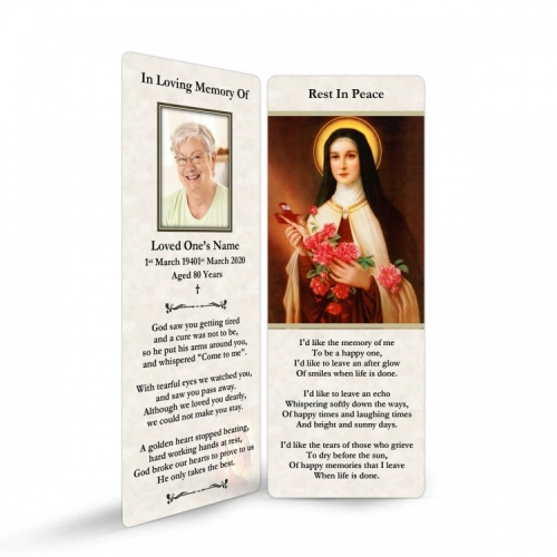 St Saint Teresa In Remembrance Laminated Death Memorial Bookmarks UK - ST11