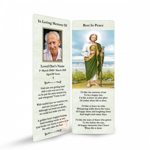 Saint Jude Catholic Irish Personalised Memorial Bookmarks Laminated - ST12