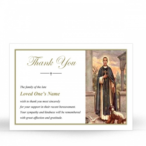 Saint Martin De Porres Catholic Customised Memorial Acknowledgement Card - ST14