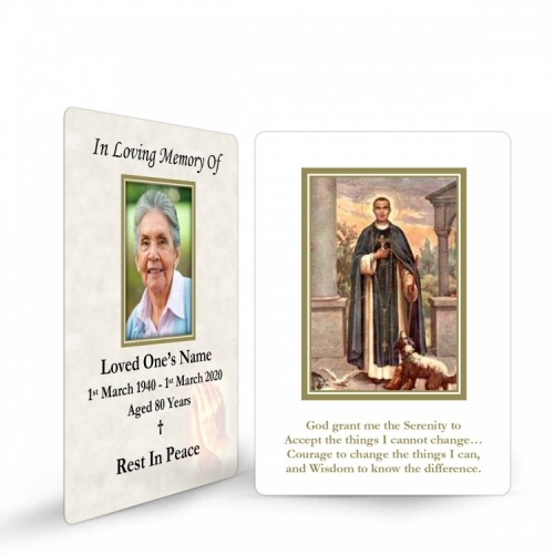 Saint Martin De Porres Catholic In Memorium Memorial Customised Wallet Card - ST14