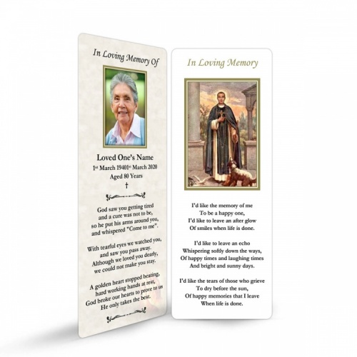 Saint Martin De Porres Catholic In Memorium Customised Memorial Bookmark - ST14