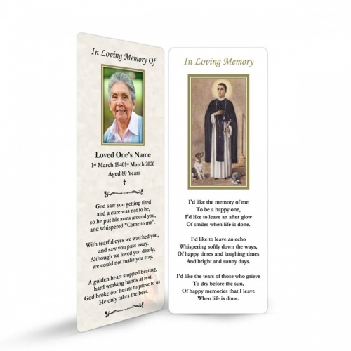Saint Martin De Porres Catholic In Memorium Customised Memorial Bookmark - ST15