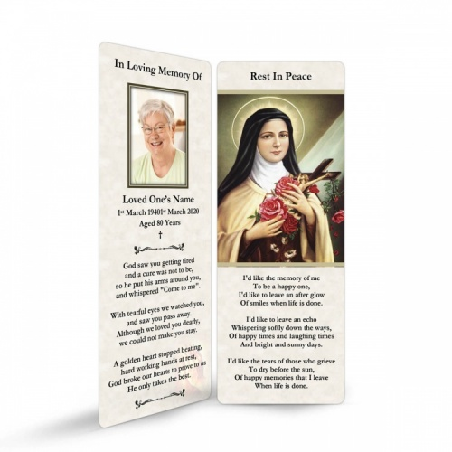 Saint Teresa Customised Laminated Memorial Bookmarks - ST16