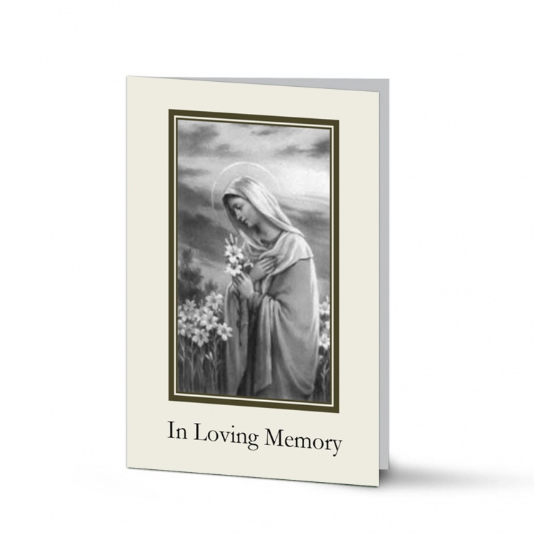 Religious Praying Virgin Mary In Remembrance Laminated Death Memorial Cards UK - MAR50