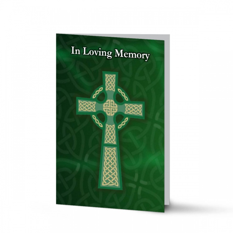 Celtic Green Cross Irish Memorial Cards Ireland Themes by Memorial Card Shop  - CEL03