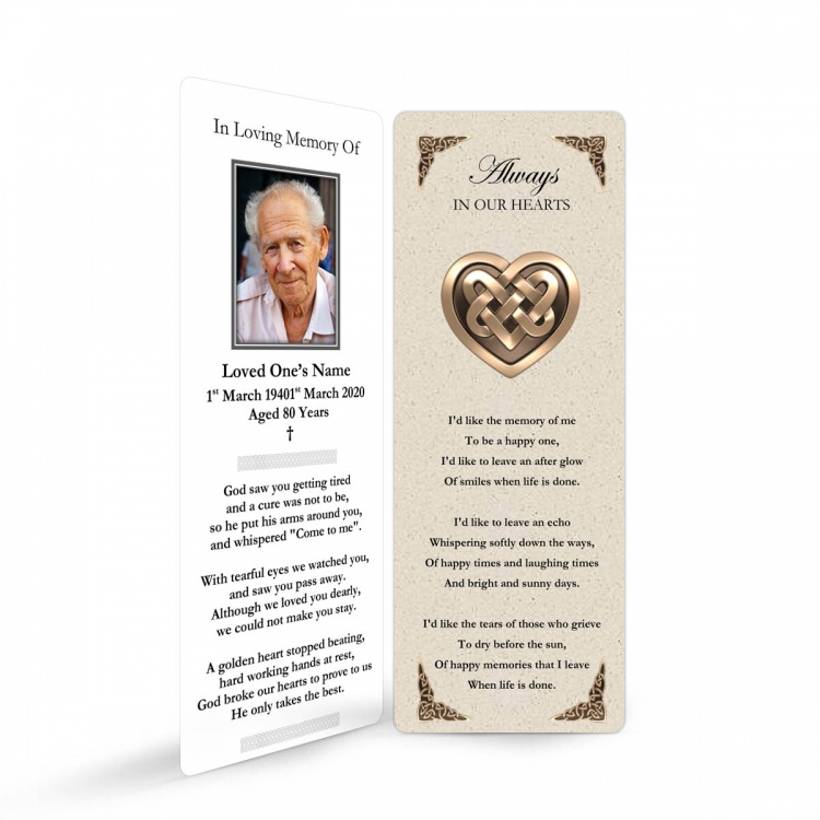 Catholic Celtic Heart Irish Memory Remembrance Funeral Memorial Bookmark - CEL14