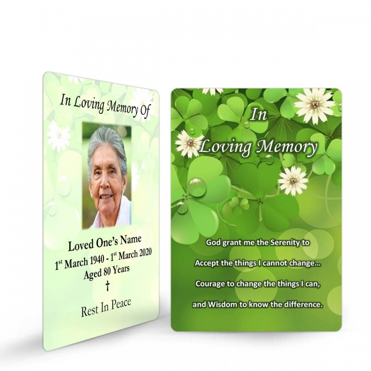 Shamrock Irish In Memoriam Prayer Cards Ireland Theme In Loving Memory Of  Personalised Photo - CEL24