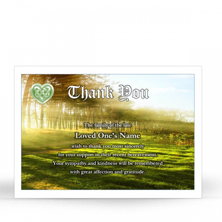Irish Woodland Catholic & Celtic Laminated Irish Memory Thank You Cards Personalised With Photo - CEL42