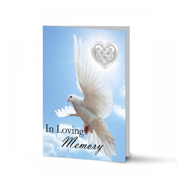 Memorial Card Ireland Theme with Dove & Celtic Tribute Folding Cards CEL61