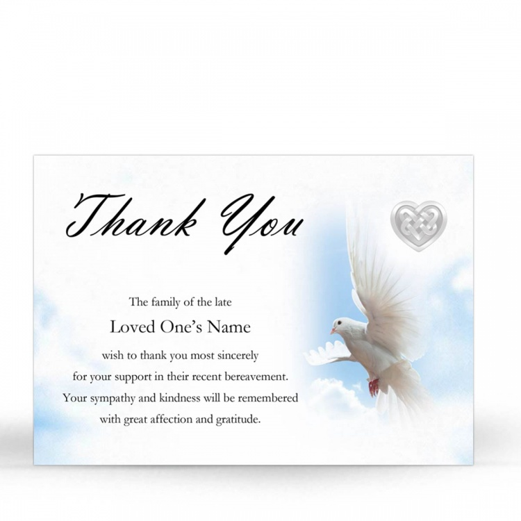 Memorial Card Ireland Theme with Dove & Celtic Tribute Acknowledgement Cards  CEL61