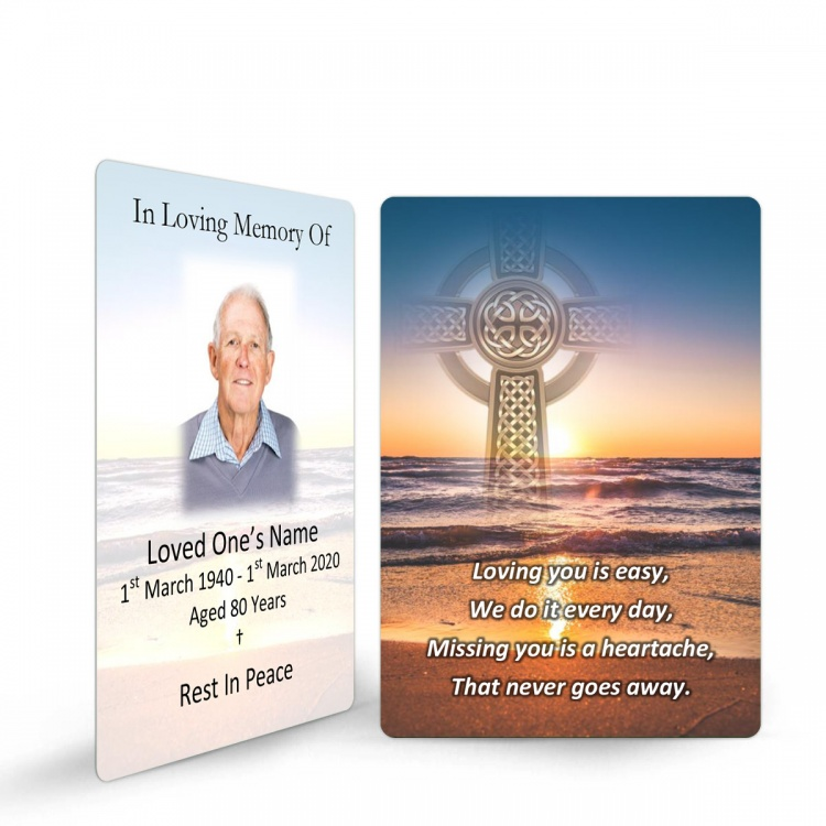 Irish Sunset Celtic Heart Laminated Irish Memory Prayer Holy Cards Personalised With Photo - CEL71