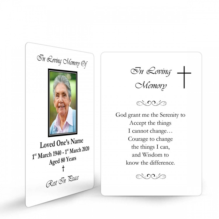 Simple Cross Religious Catholic In Memoriam Laminated Prayer Wallet Card - CLS03