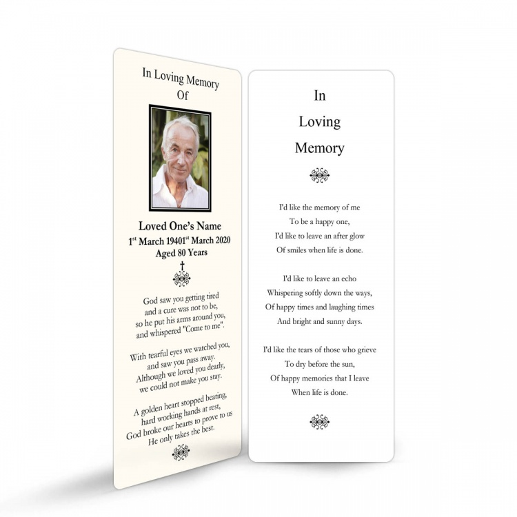 Religious White & Cream In Remembrance Laminated Memorial Bookmarks UK - CLS07
