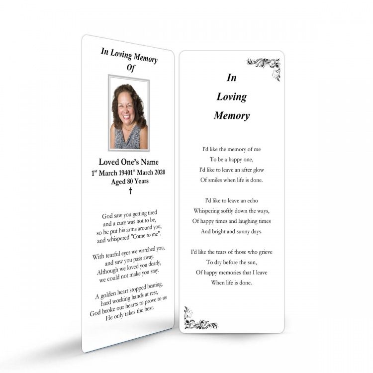 In Loving Memory and In Remembrance Laminated Irish Memorial Bookmarks UK - CLS10