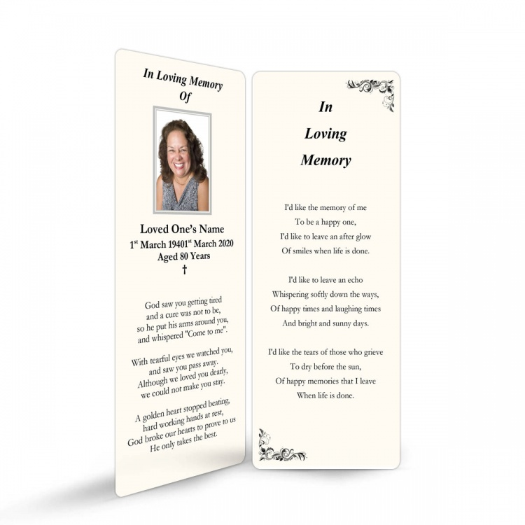 In Loving Memory and In Remembrance Laminated Irish Memorial Bookmarks UK - CLS11