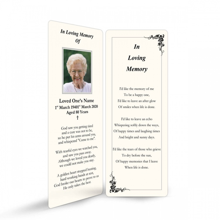 Traditional Classic Style Catholic Personalised Laminated Memorial Bookmark - CLS13