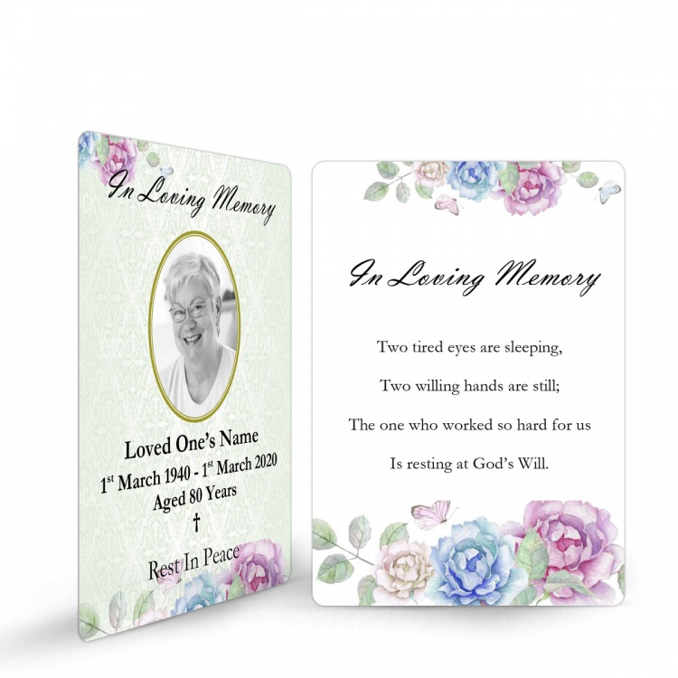 Memorial Prayer Cards Laminated