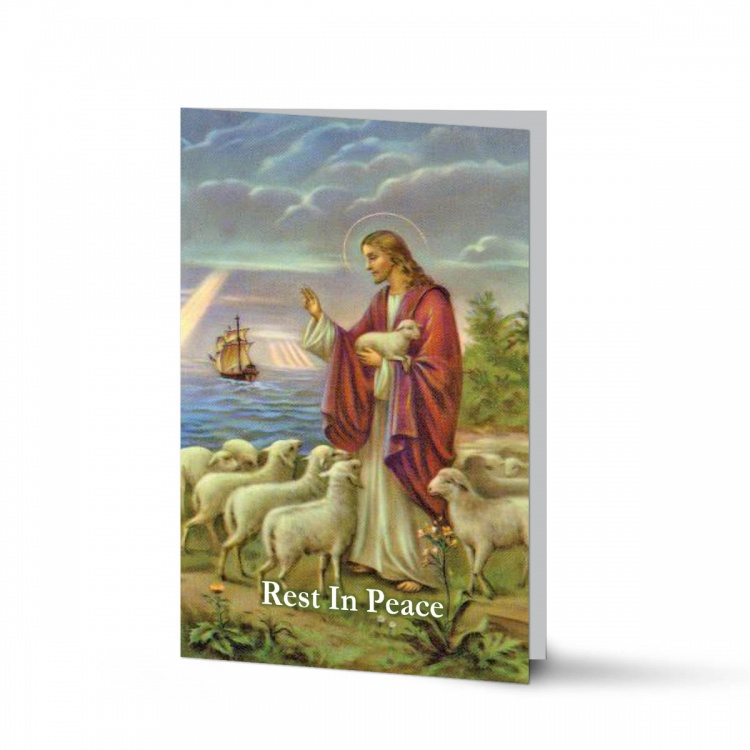 Jesus The Shepherd Religious Catholic In Memoriam Laminated Folding Memorial Prayer Card - JC03