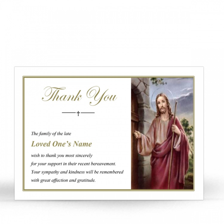 Catholic Laminated Memorial Prayer Thank You Card with Jesus Knocking At The Door - JC05