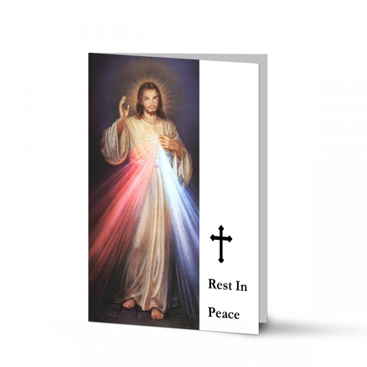 Jesus Divine Mercy In Remembrance Laminated Memorial Prayer Cards UK - JC07