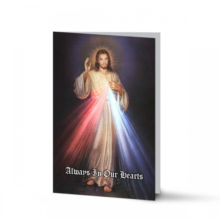Jesus Divine Mercy Catholic Personalised Laminated Folded Memorial Prayer Card - JC13