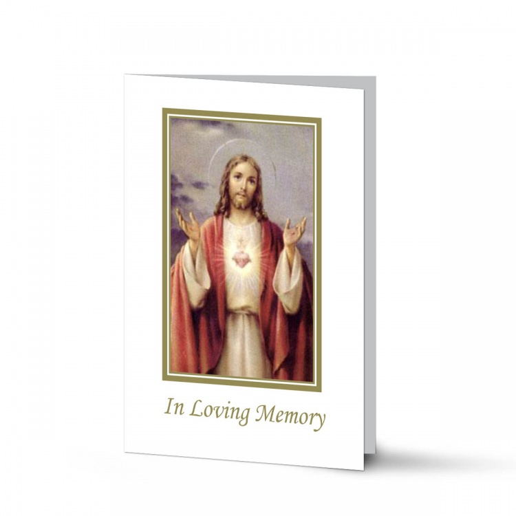 Sacred Heart Of Jesus Christ Laminated Catholic Irish Memorial Prayer Cards - JC24