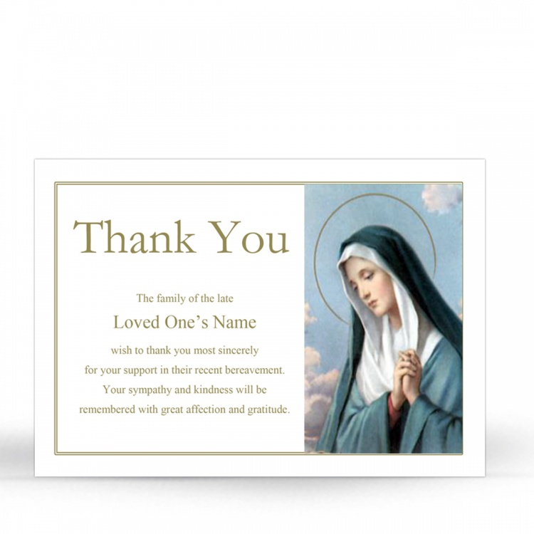 Blessed Virgin Mary Religious Catholic In Memoriam Acknowledgement Card - MAR03