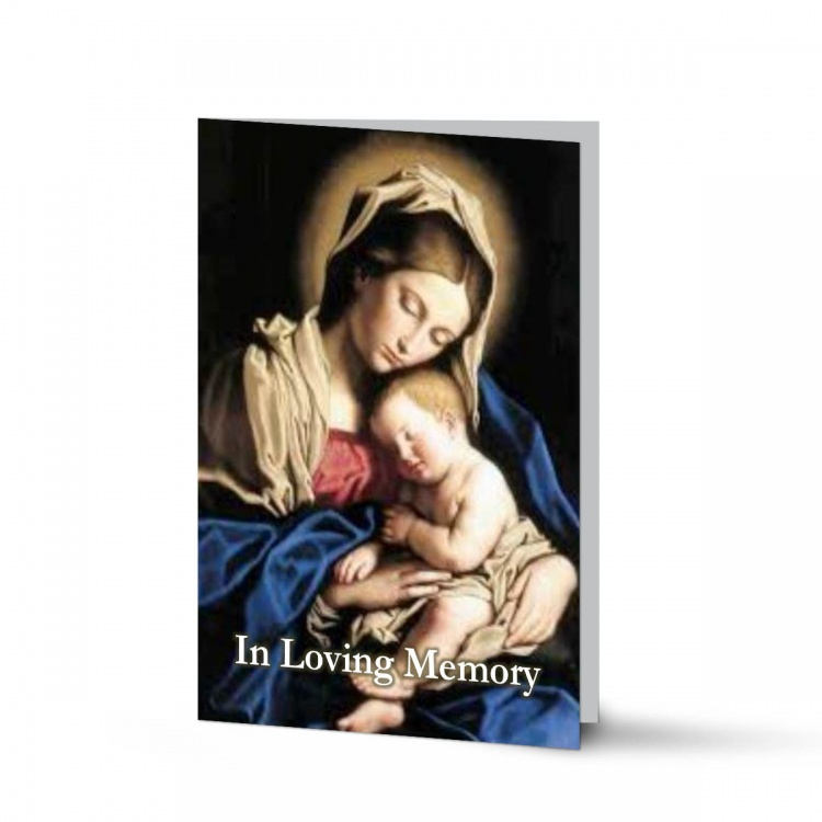 Blessed Virgin Mary & Jesus Catholic In Loving Memory Laminated Folded Memorial Card - MAR04