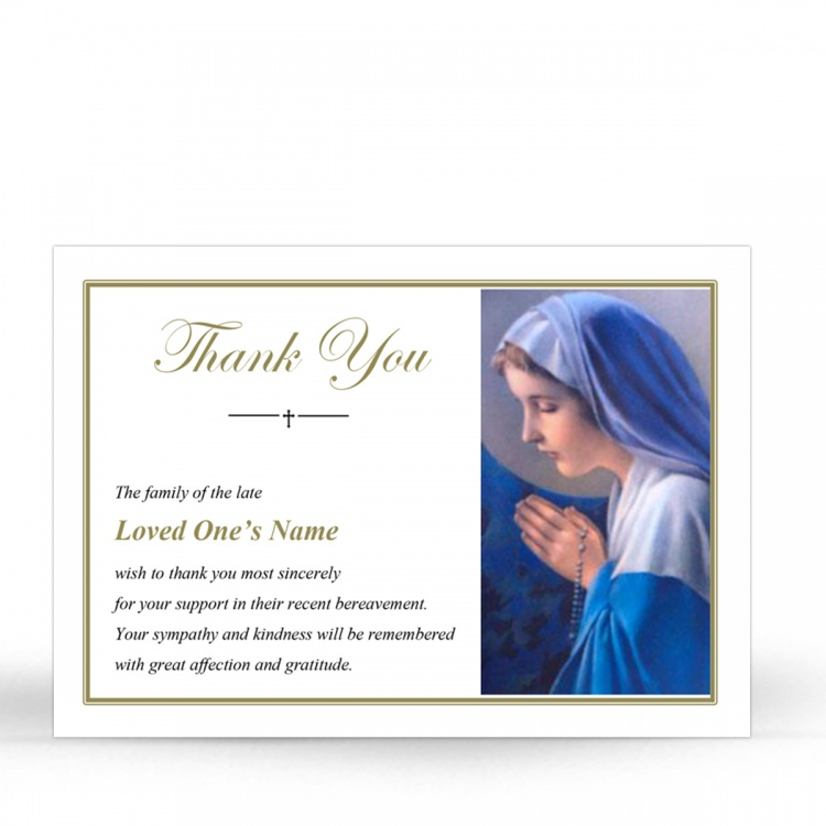Religious Praying Virgin Mary In Remembrance Laminated Irish Memorial Thanks Cards UK - MAR10