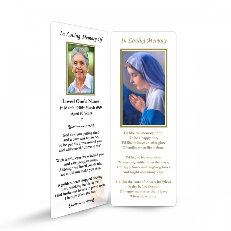 Religious Praying Virgin Mary In Remembrance Laminated Irish Memorial Bookmarks UK - MAR10