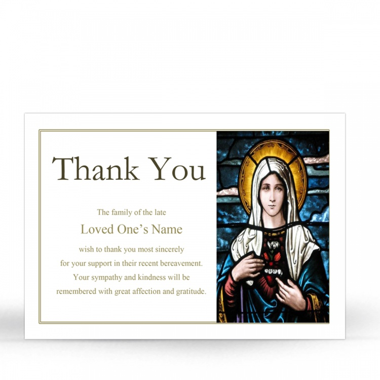 Our Lady Blessed Virgin Mary Religious Catholic Condolence Acknowledgement Card - MAR12